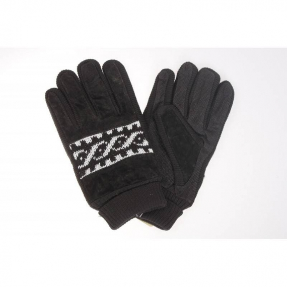 Leather print gloves