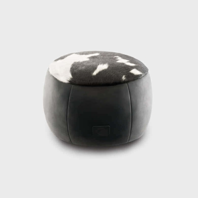 Cowhide & Leather Ottoman Medium