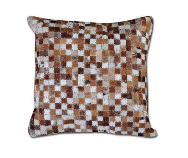 Cowhide Mosaic Cushion Brown Ivory