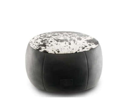 Exotic Cowhide & Leather Ottoman Medium