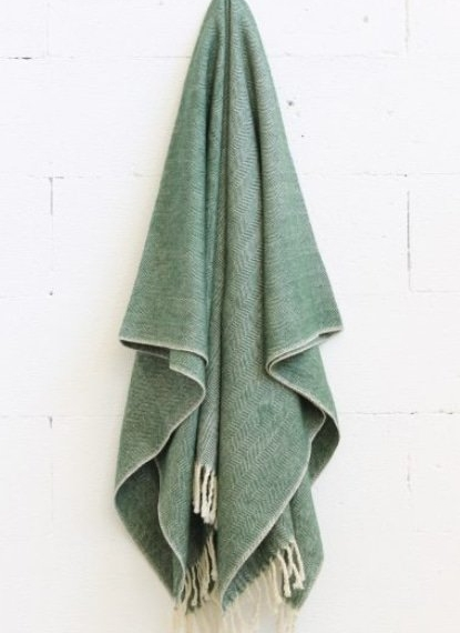 Merino Wool Worthington Throw - Green