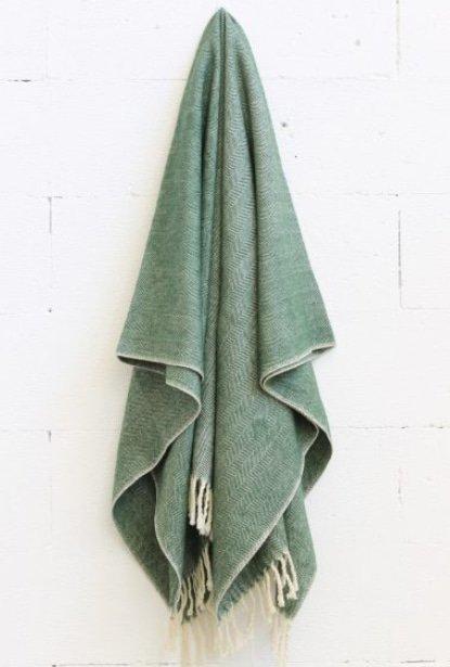 Merino Wool Worthington Throw - Green