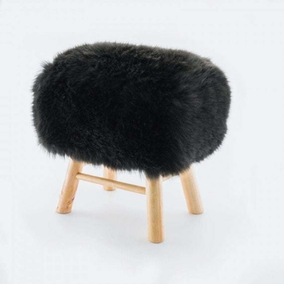 Sheepskin Snowball Stool Square Black