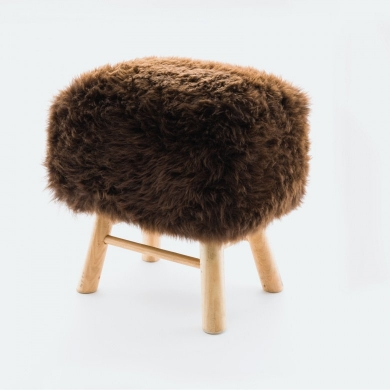 Sheepskin Snowball Stool Square Choc