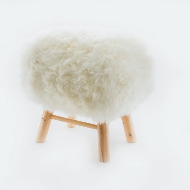 Sheepskin Snowball Stool Square