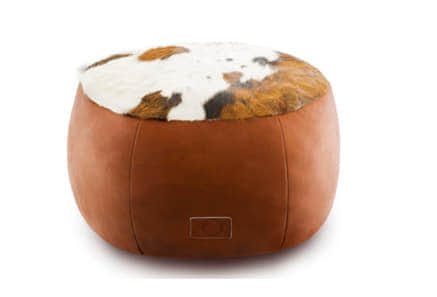 Tri colour Cowhide & Leather Ottoman Large