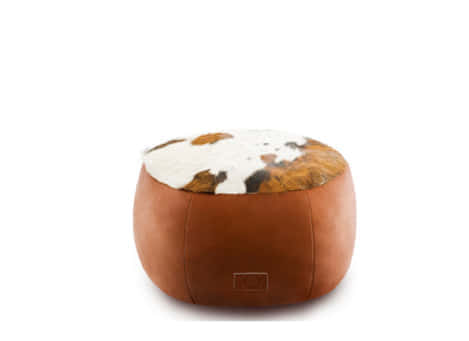 Tri Colour Cowhide & Leather Ottoman Medium