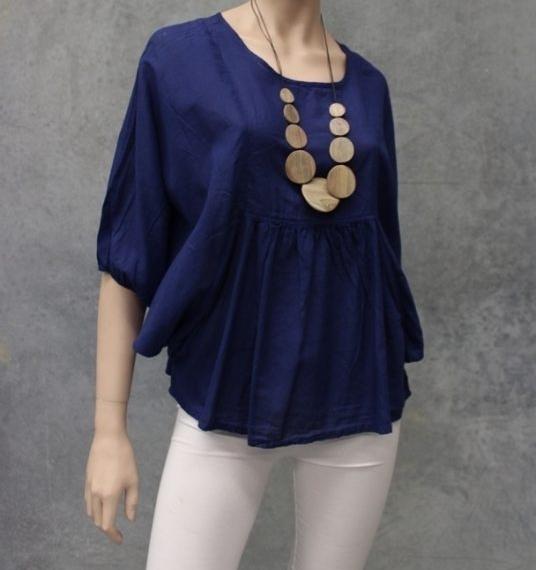 Batwing Cotton Blouse Royal Blue