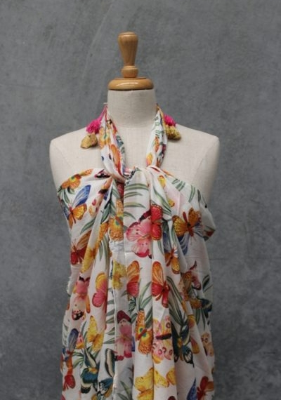 Cotton Sarong Scarf - Butterfly