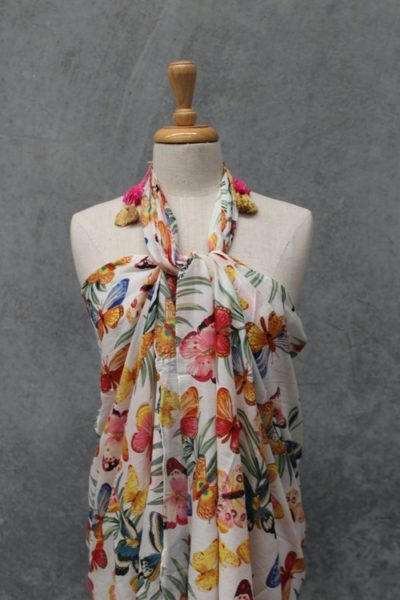 Voile Printed Sarong w Tassels - Butterfly