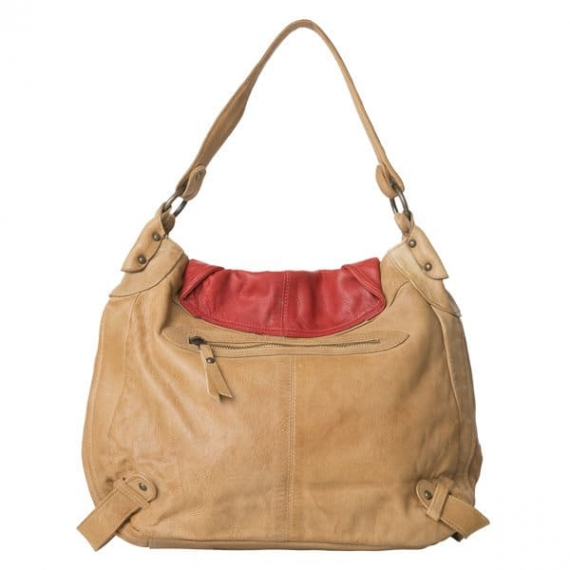 Cadelle Leather Bailey Bag Camel/Red