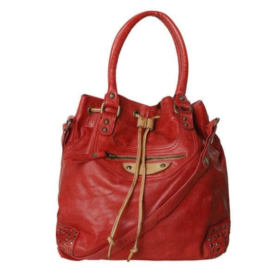 Cadelle Leather Hattie Bag Red/Camel