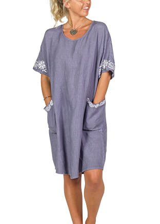 Ceramic Blue Linen Dress