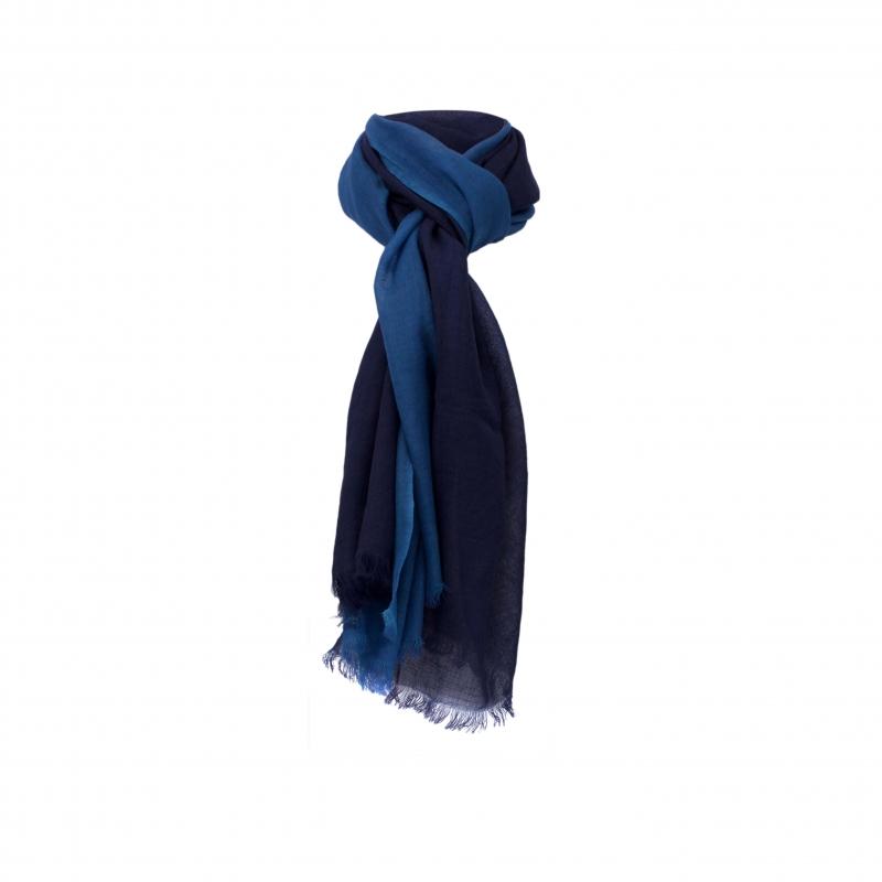 Chele & Maye Two Tone Blue Wool Scarf