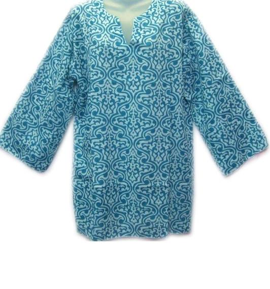 Cotton 3/4 Sleeve Patterned Top Aqua