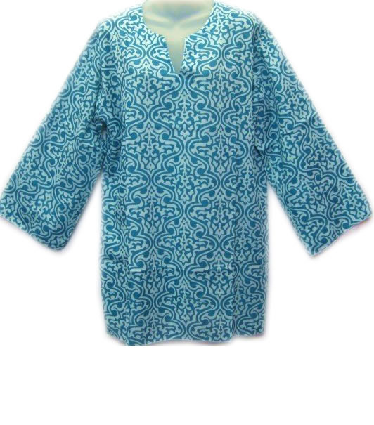 Cotton 3/4 Sleeve Patterned Top Aqua