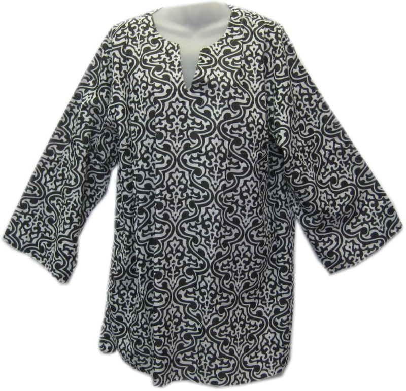 Cotton 3/4 Sleeve Patterned Top Black