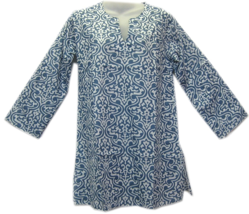 Cotton 3/4 Sleeve Patterned Top Blue