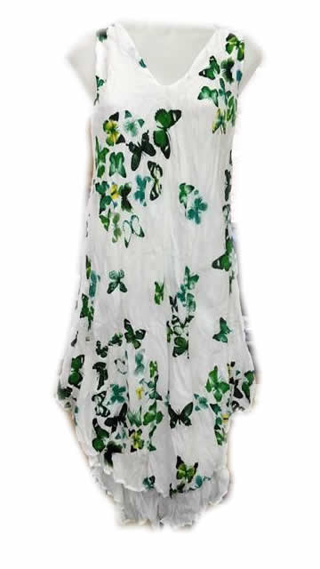 Cotton Butterfly Double Layer Dress Green