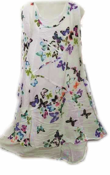 Cotton Butterfly Double Layer Dress Zig Zag