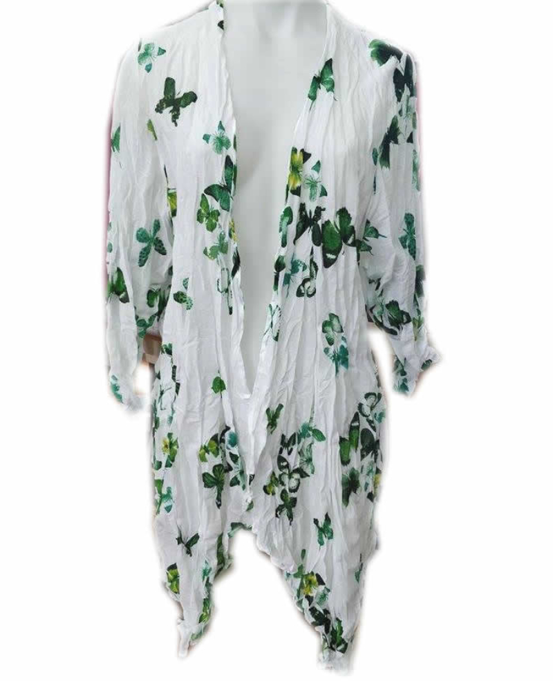 Cotton Butterfly Print 3/4 Sleeve Cardigan Green