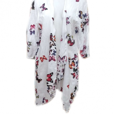 Cotton Butterfly Print 3/4 Sleeve Cardigan Red