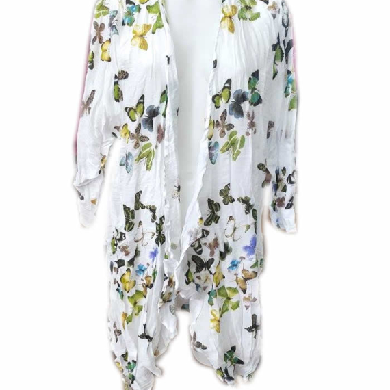 Cotton Butterfly Print 3/4 Sleeve Cardigan Yellow