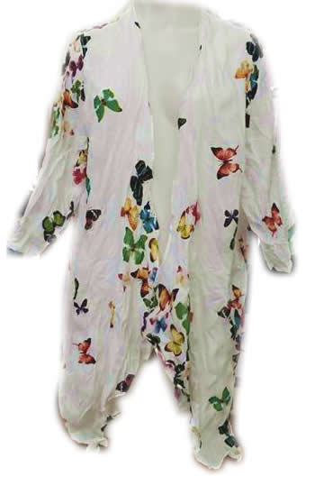 Cotton Butterfly Print 3/4 Sleeve Cardigan