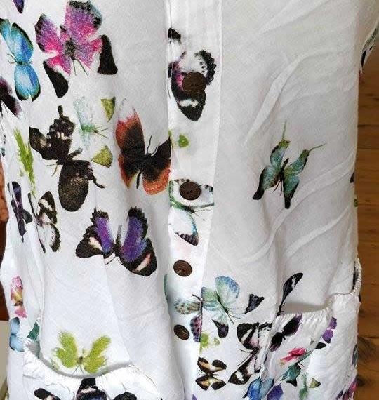 Cotton Butterfly Print Sleeveless  Multi