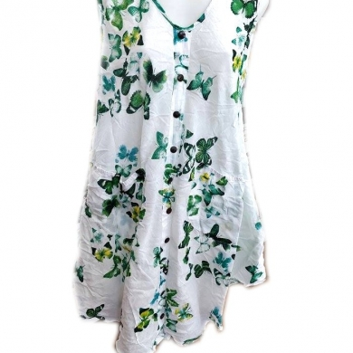 Cotton Butterfly Print Sleeveless Dress Green