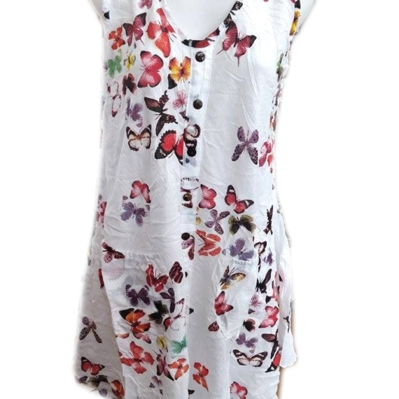 Cotton Butterfly Print Sleeveless Dress Red