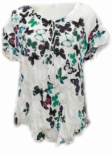 Cotton Butterfly Print Top Green Red