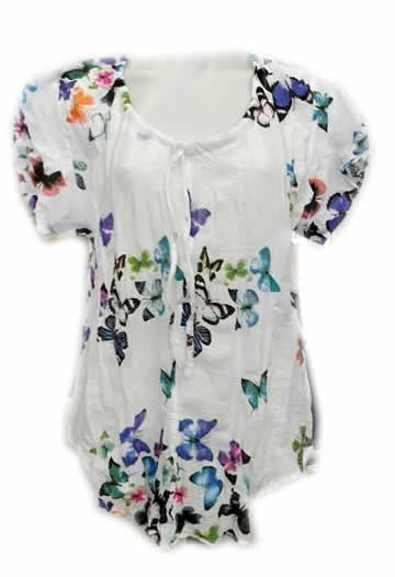 Cotton Butterfly Print Top Multi