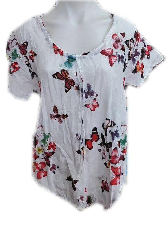 Cotton Butterfly Print Top Red