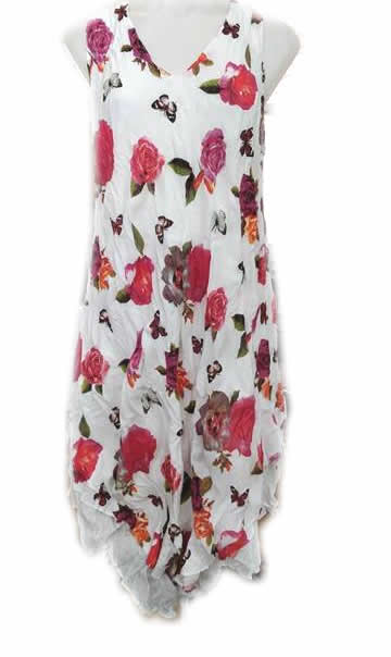 Cotton Double Layer Dress Pink Rose