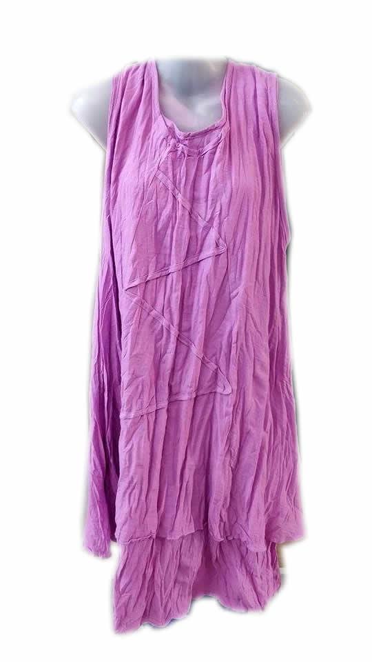 Cotton Double Layer Zig Zag Dress Purple