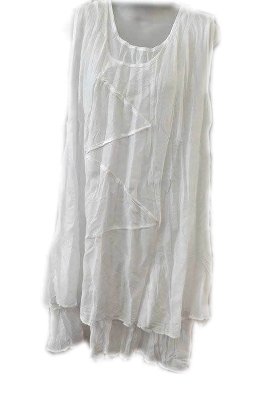 Cotton Double Layer Zig Zag Dress White