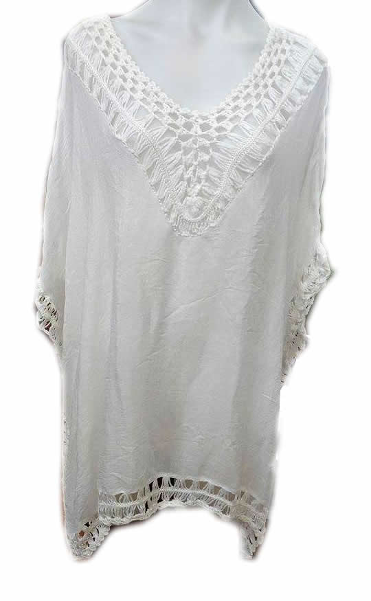Cotton Lace Kaftan Top White