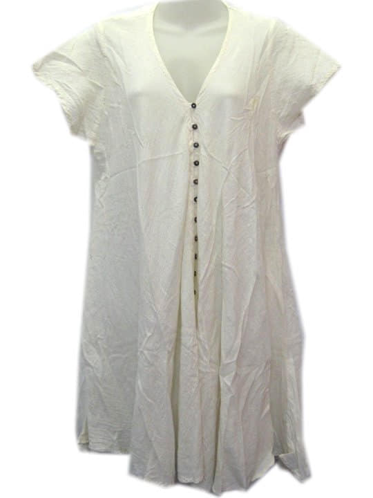 Crinkle Cotton Dress Cream