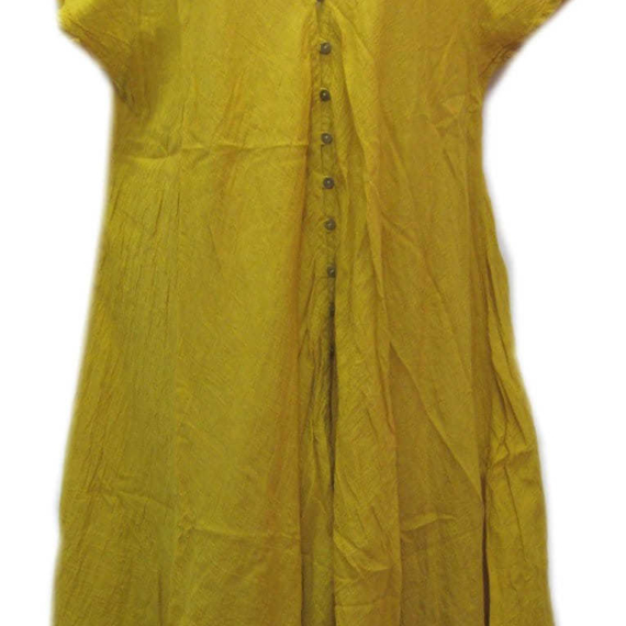 Cotton Dress With Buttons Mustard