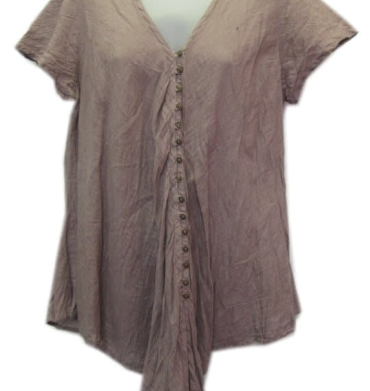 Cotton Top With Buttons Mocca