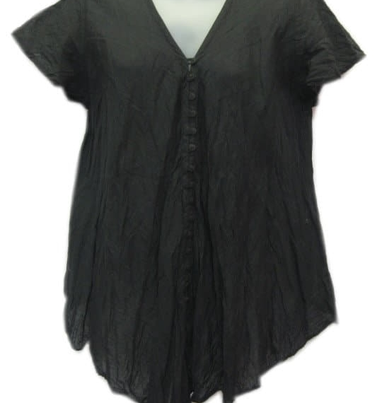 Crinkle Cotton Top Black