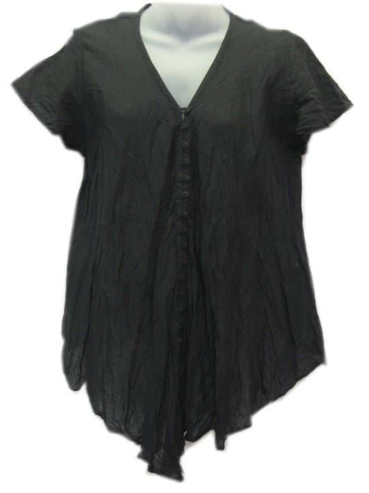 Crinkle Cotton Top Black