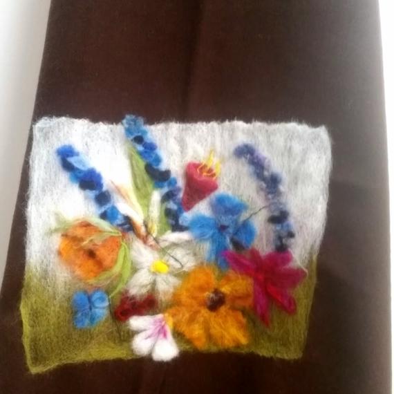 Felted Wool Wrap - Flowers