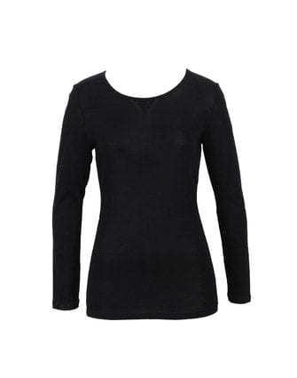 Fine Merino Long Sleeve Top - Black
