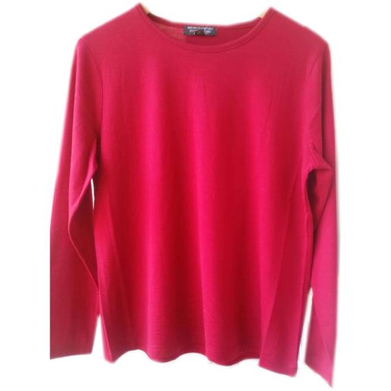 Fine Merino Long Sleeve Top - Raspberry Red