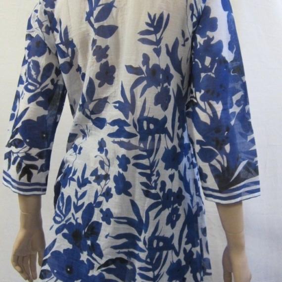 Ink Floral Pintuck Long Shirt