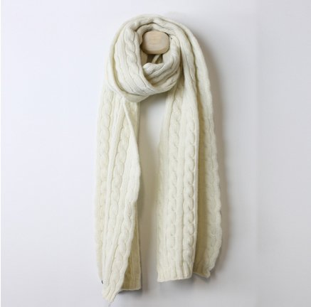 Lambswool Cable Scarf Cream