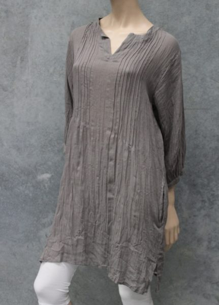 Naturals Pin Pleat Tunic Top Taupe