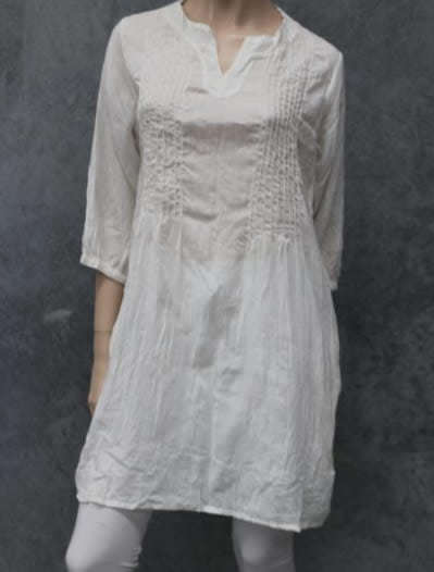 Naturals Pin Pleat Tunic Top White